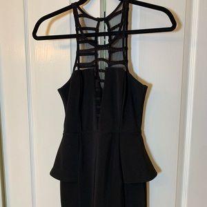 Peplum mini black dress